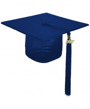 SHINY NAVY BLUE CAP AND GOWN