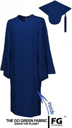 GO GREEN NAVY BLUE BACHELOR GRADUATION CAP & GOWN SET