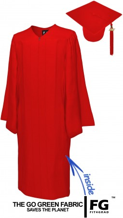 GO GREEN RED BACHELOR GRADUATION CAP & GOWN SET