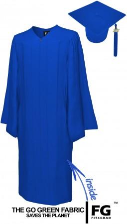 GO GREEN ROYAL BLUE BACHELOR GRADUATION CAP & GOWN SET
