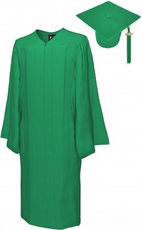 MATTE EMERALD GREEN BACHELOR GRADUATION CAP & GOWN SET