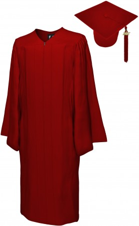 MATTE MAROON RED BACHELOR GRADUATION CAP & GOWN SET