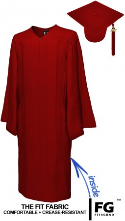 MATTE MAROON RED CAP AND GOWN