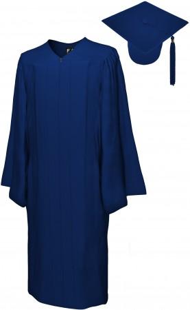 MATTE NAVY BLUE BACHELOR GRADUATION CAP & GOWN SET