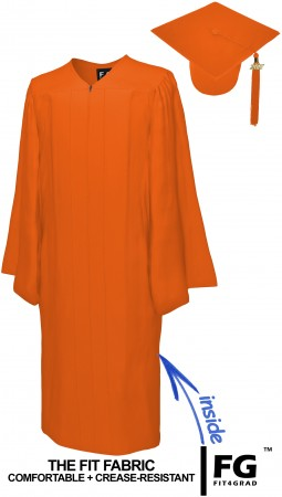 MATTE ORANGE CAP AND GOWN