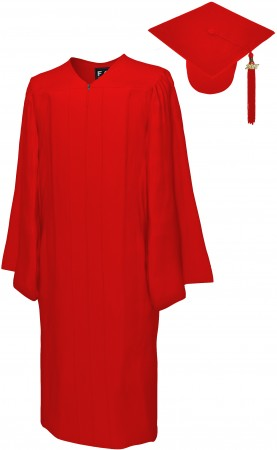 MATTE RED BACHELOR GRADUATION CAP & GOWN SET