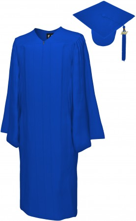 MATTE ROYAL BLUE BACHELOR GRADUATION CAP & GOWN SET