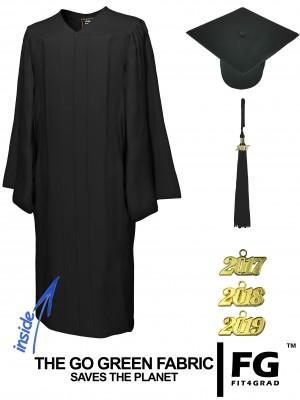 GO GREEN BLACK CAP & GOWN BACHELOR GRADUATION SET
