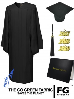 GO GREEN BLACK CAP, GOWN, TASSEL, DIPLOMA COVER SET