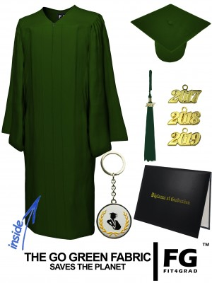 GO GREEN FOREST GREEN CAP, GOWN, TASSEL, DIPLOMA COVER SET