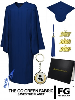 GO GREEN NAVY BLUE CAP, GOWN, TASSEL, DIPLOMA COVER SET