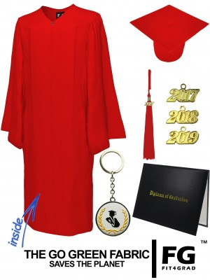 GO GREEN RED CAP, GOWN, TASSEL, DIPLOMA COVER SET