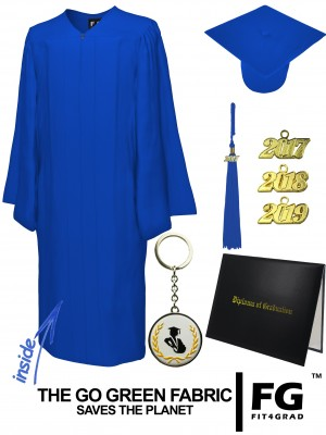 GO GREEN ROYAL BLUE CAP, GOWN, TASSEL, DIPLOMA COVER SET