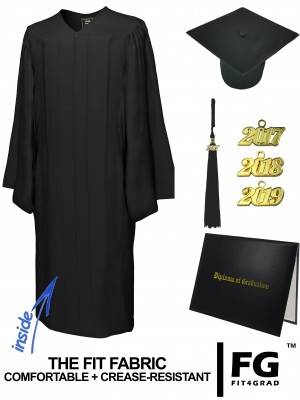 MATTE BLACK CAP, GOWN, TASSEL, DIPLOMA COVER SET