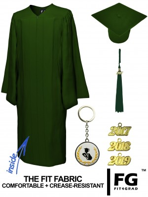 MATTE FOREST GREEN CAP AND GOWN
