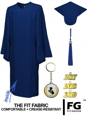 MATTE NAVY BLUE CAP AND GOWN