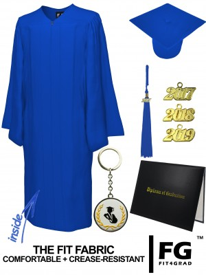 MATTE ROYAL BLUE CAP, GOWN, TASSEL, DIPLOMA COVER SET