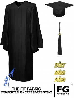 SHINY BLACK CAP AND GOWN