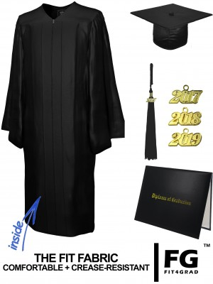 SHINY BLACK CAP, GOWN, TASSEL, DIPLOMA COVER SET