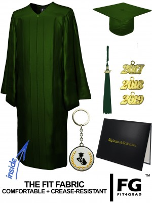 SHINY FOREST GREEN CAP, GOWN, TASSEL, DIPLOMA COVER SET