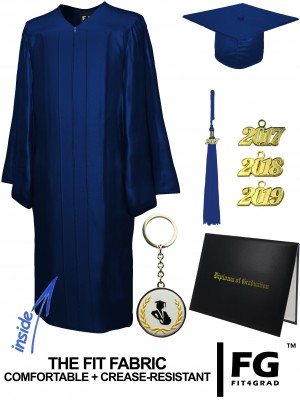 SHINY NAVY BLUE CAP, GOWN, TASSEL, DIPLOMA COVER SET