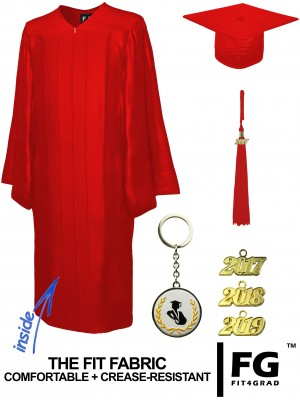 SHINY RED CAP AND GOWN