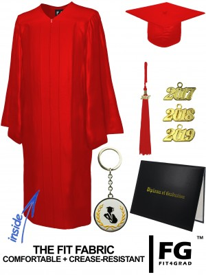 SHINY RED CAP, GOWN, TASSEL, DIPLOMA COVER SET