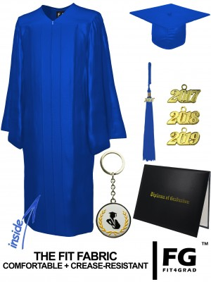 SHINY ROYAL BLUE CAP, GOWN, TASSEL, DIPLOMA COVER SET