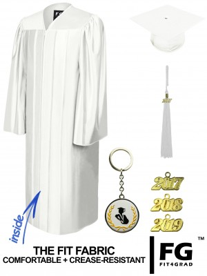 SHINY WHITE CAP AND GOWN
