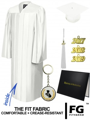 SHINY WHITE CAP, GOWN, TASSEL, DIPLOMA COVER SET