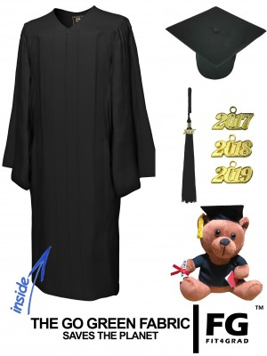GO GREEN BLACK CAP, GOWN, GRADUATION BEAR SET