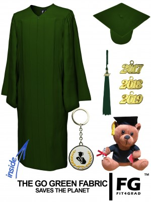 GO GREEN FOREST GREEN CAP, GOWN, GRADUATION BEAR SET