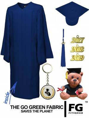GO GREEN NAVY BLUE CAP, GOWN, GRADUATION BEAR SET