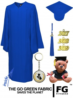 GO GREEN ROYAL BLUE CAP, GOWN, GRADUATION BEAR SET