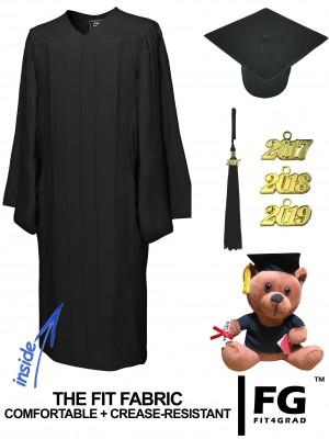 MATTE BLACK CAP, GOWN, GRADUATION BEAR SET