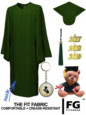MATTE FOREST GREEN CAP, GOWN, GRADUATION BEAR SET