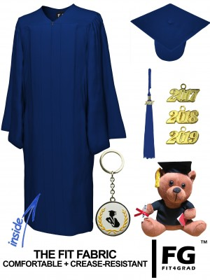 MATTE NAVY BLUE CAP, GOWN, GRADUATION BEAR SET