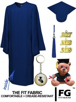 MATTE NAVY BLUE CAP, GOWN, GRADUATION BEAR SET