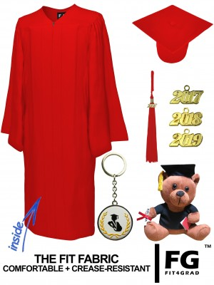 MATTE RED CAP, GOWN, GRADUATION BEAR SET