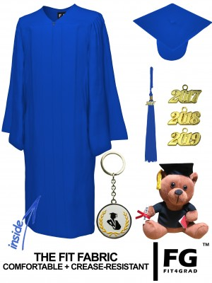 MATTE ROYAL BLUE CAP, GOWN, GRADUATION BEAR SET