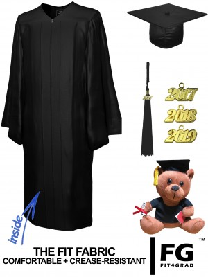 SHINY BLACK CAP, GOWN, GRADUATION BEAR SET