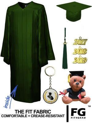 SHINY FOREST GREEN CAP, GOWN, GRADUATION BEAR SET