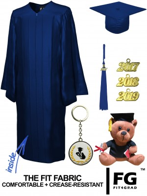 SHINY NAVY BLUE CAP, GOWN, GRADUATION BEAR SET