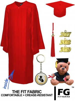 SHINY RED CAP, GOWN, GRADUATION BEAR SET