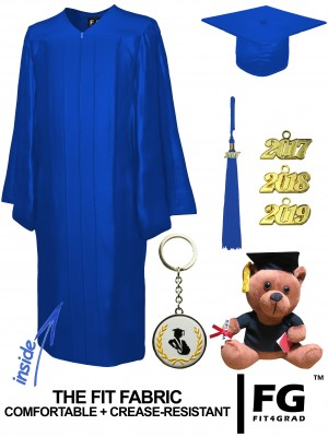 SHINY ROYAL BLUE CAP, GOWN, GRADUATION BEAR SET