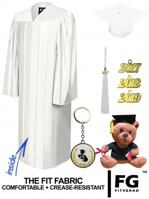 SHINY WHITE CAP, GOWN, GRADUATION BEAR SET