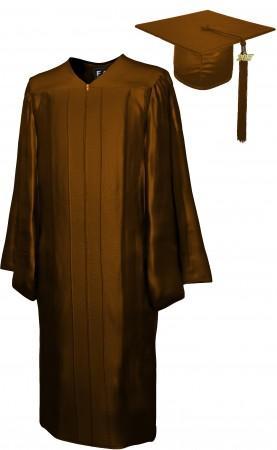SHINY BROWN BACHELOR GRADUATION CAP & GOWN SET