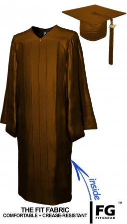 SHINY BROWN CAP AND GOWN