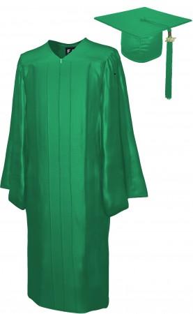 SHINY EMERALD GREEN BACHELOR GRADUATION CAP & GOWN SET