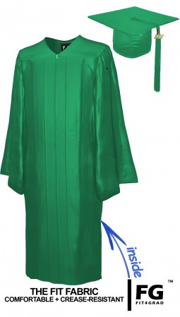SHINY EMERALD GREEN CAP AND GOWN